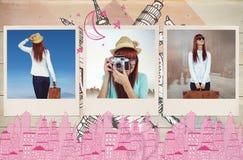 Zusammengesetztes Bild der hinteren Ansicht der Hippie-Frau Koffer halten Lizenzfreies Stockfoto