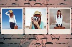 Zusammengesetztes Bild der hinteren Ansicht der Hippie-Frau Koffer halten Stockfotografie
