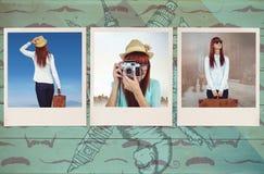 Zusammengesetztes Bild der hinteren Ansicht der Hippie-Frau Koffer halten Stockfoto