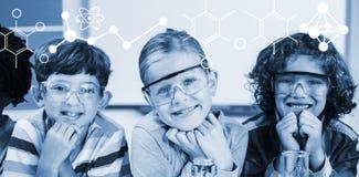 Zusammengesetztes Bild der Illustration der chemischen Formeln stockbild