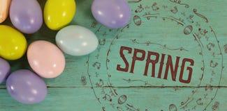 Zusammengesetztes Bild der Illustration des Frühlinges für Ostern Stockfotografie