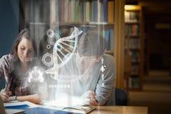 Zusammengesetztes Bild der Illustration von DNA Stockbilder