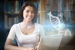 Zusammengesetztes Bild der Illustration von DNA Lizenzfreie Stockfotos
