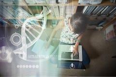 Zusammengesetztes Bild der Illustration von DNA Lizenzfreies Stockbild