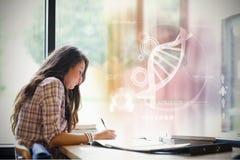 Zusammengesetztes Bild der Illustration von DNA Stockfotografie