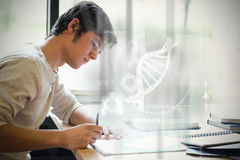 Zusammengesetztes Bild der Illustration von DNA Stockfoto