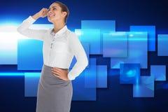 Zusammengesetztes Bild der lächelnden durchdachten Geschäftsfrau Stockfotos