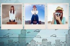 Zusammengesetztes Bild der lächelnden Hippie-Frau, die Koffer hält Stockfoto