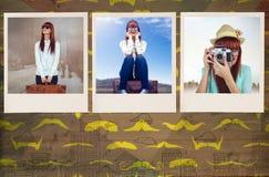 Zusammengesetztes Bild der lächelnden Hippie-Frau, die Koffer hält Lizenzfreie Stockfotos