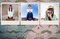 Zusammengesetztes Bild der lächelnden Hippie-Frau, die Koffer hält Stockfotografie