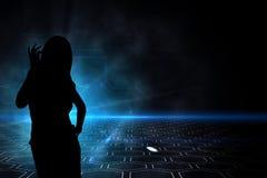 Zusammengesetztes Bild der Leiterplatte auf futuristischem Hintergrund mit Glühen Lizenzfreie Stockfotos