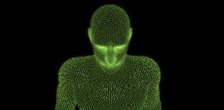 Zusammengesetztes Bild der Nahaufnahme des digitalen Mannes 3d Stockbild