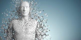 Zusammengesetztes Bild der Nahaufnahme des pixelated grauen Mannes 3d Stockfotografie