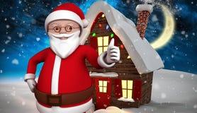 Zusammengesetztes Bild der netten Karikatur Weihnachtsmann Stockfotos