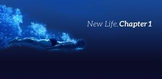 Zusammengesetztes Bild der neuen Mitteilung des Lebenkapitels eins auf einem weißen Hintergrund Stockbild