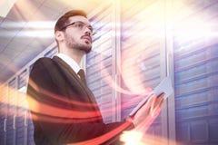 Zusammengesetztes Bild der roten Turbulenz mit orange Licht Lizenzfreie Stockfotografie