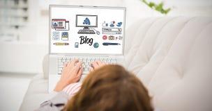 Zusammengesetztes Bild der Schnittstelle mit Online-Community-Werkzeugen stockfotos