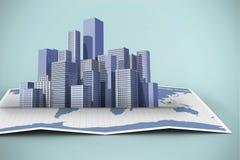 Zusammengesetztes Bild der Weltkarte 3d Stockfotos