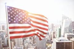 Zusammengesetztes Bild des Abschlusses oben von wir Flagge Lizenzfreies Stockbild
