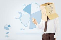 Zusammengesetztes Bild des anonymen Geschäftsmannes mit seinem Smartphone Lizenzfreie Stockbilder