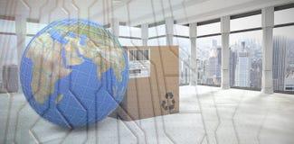 Zusammengesetztes Bild des Bildes 3d der blauen Linien auf Planetenerde durch Kasten Lizenzfreies Stockfoto
