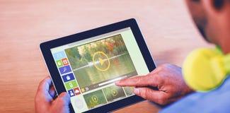 Zusammengesetztes Bild des Bildes der verschiedenen Video- und Computerikonen Stockbild