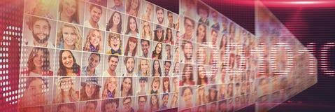 Zusammengesetztes Bild des binay Codes auf belichtetem digitalem Schirm Stockfotos