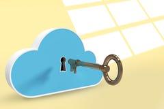 Zusammengesetztes Bild des blauen Schließfachs in der Wolkenform mit Schlüssel 3d Stockfotos