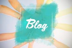 Zusammengesetztes Bild des Blogtextes gegen weißen Hintergrund Lizenzfreies Stockbild