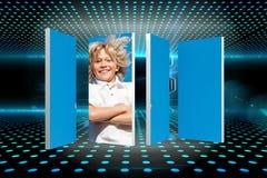 Zusammengesetztes Bild des blonden Jungen auf abstraktem Schirm Lizenzfreie Stockfotos