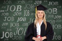 Zusammengesetztes Bild des blonden Studenten in der graduierten Robe Stockbilder