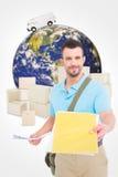 Zusammengesetztes Bild des Briefträgers mit Buchstaben lizenzfreie stockbilder