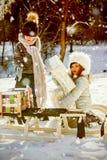 Zusammengesetztes Bild des Bruders und der Schwester, die Geschenke mit dem Schlitten auf Schneefeld nehmen Stockfoto