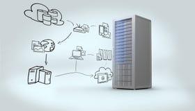 Zusammengesetztes Bild des Datenverarbeitungsgekritzels der Wolke Stockfotos