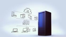 Zusammengesetztes Bild des Datenverarbeitungsgekritzels der Wolke Lizenzfreie Stockbilder