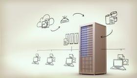 Zusammengesetztes Bild des Datenverarbeitungsgekritzels der Wolke Stockfoto