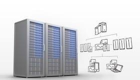 Zusammengesetztes Bild des Datenverarbeitungsgekritzels der Wolke Lizenzfreies Stockbild