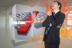 Zusammengesetztes Bild des denkenden Geschäftsmannbehälters Lizenzfreies Stockfoto
