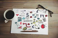 Zusammengesetztes Bild des digital erzeugten Bildes der verschiedenen Geschäftsikonen Stockbild