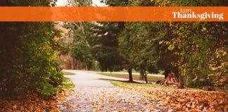 Zusammengesetztes Bild des digital erzeugten Bildes des glücklichen Danksagungstextes Stockfoto