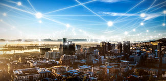 Zusammengesetztes Bild des digital zusammengesetzten Bildes der Molekülstruktur lizenzfreies stockfoto