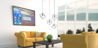 Zusammengesetztes Bild des digital zusammengesetzten Bildes der verschiedenen Computerikonen mit Anmeldungsseite Stockbild