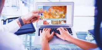 Zusammengesetztes Bild des digital zusammengesetzten Bildes der verschiedenen Video- und Computerikonen Lizenzfreies Stockbild