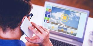 Zusammengesetztes Bild des digital zusammengesetzten Bildes der Videos und der Computerikonen Stockfotografie