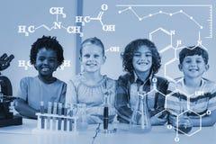 Zusammengesetztes Bild des Digitalbilds der chemischen Formeln stock abbildung