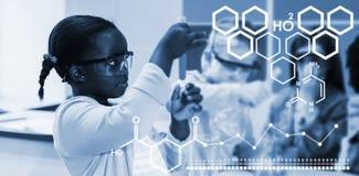 Zusammengesetztes Bild des Digitalbilds der chemischen Struktur lizenzfreie abbildung