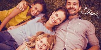 Zusammengesetztes Bild des Digitalbilds des glücklichen Danksagungstagestextgrußes Lizenzfreie Stockfotos