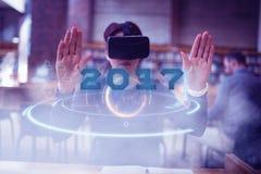 Zusammengesetztes Bild des Digitalbilds neuen Jahres 2017 Stockfoto