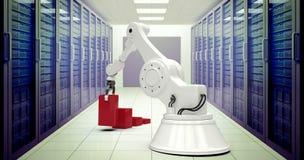 Zusammengesetztes Bild des digitalen erzeugten Bildes des Roboters rote Bauklötze in Stange ghaph 3d vereinbarend stockfotografie