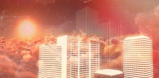 Zusammengesetztes Bild des digitalen zusammengesetzten Bildes der Gebäude Stockfotografie